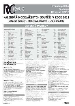 KALENDÁŘ MODELÁŘSKÝCH SOUTĚŽÍ V ROCE 2012