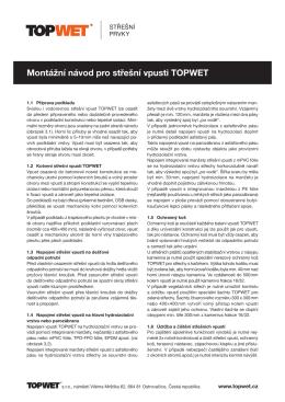 Montážní návod pro střešní vpusti TOPWET