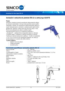 Ionizační pistole ES-2J - specifikace
