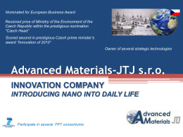 Advanced Materials-JTJ s.r.o.—INNOVATION COMPANY