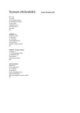 Seznam obchodníků - Výstaviště České Budějovice as
