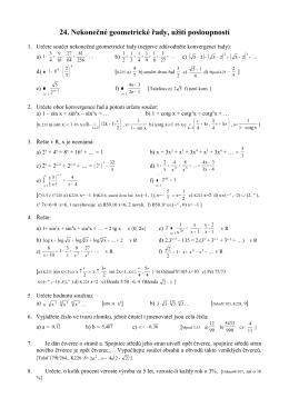 24. Nekonečné geometrické řady, užití posloupností