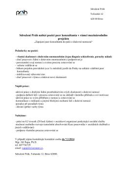 Sdružení Práh nabízí pozici peer konzultanta v rámci mezinárodního
