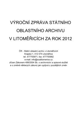 Výroční zpráva 2012 podle zákona č. 499/2004 Sb.