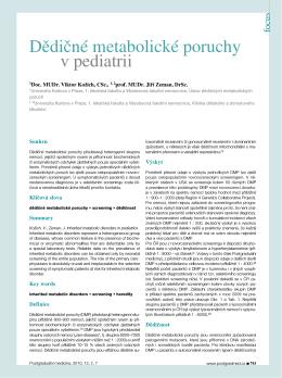 Dědičné metabolické poruchy v pediatrii