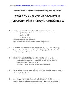 Základy analytické geometrie A - e