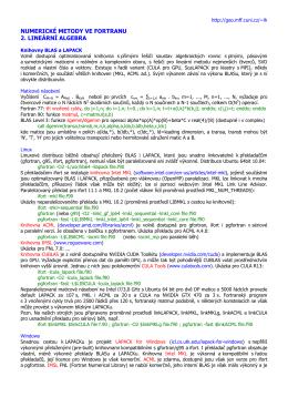NUMERICKÉ METODY VE FORTRANU 2. LINEÁRNÍ ALGEBRA