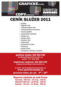 CENÍK SLUŽEB 2011 - SPRINTER, s.r.o.