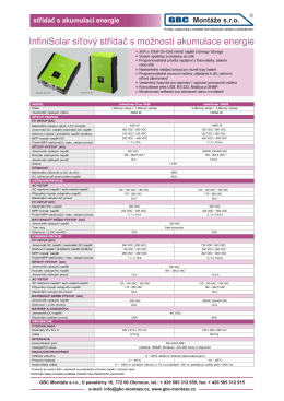 Infini Solar – technický list