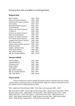 Seznamy těch, kdo se podíleli na životě gymnázia