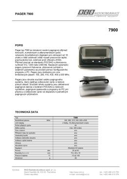 PAGER 7900 - RCD Radiokomunikace