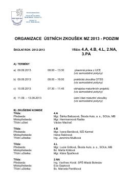 ORGANIZACE ÚSTNÍCH ZKOUŠEK MZ 2013