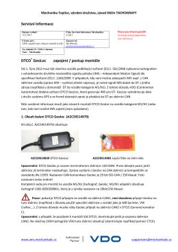 Servisní Informace DTCO GeoLoc zapojení / postup montáže