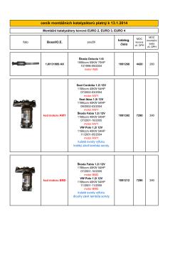 ceník montážních katalyzátorů platný k 13.1.2014