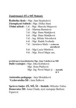 Zaměstnanci ZŠ a MŠ Malonty Ředitelka školy : Mgr. Jana