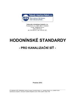 Standardy kanalizační - Vodovody a kanalizace Hodonín, as