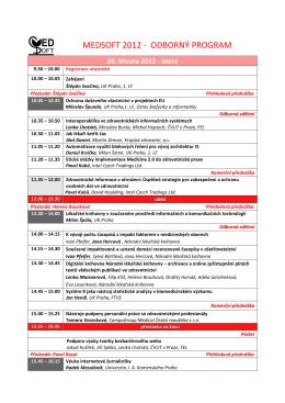 MEDSOFT 2012 - ODBORNÝ PROGRAM