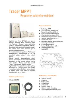 Kompletní řada EPSOLAR MPPT tracer - ČJ - Solar