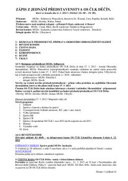 zápis z jednání představenstva os člk děčín