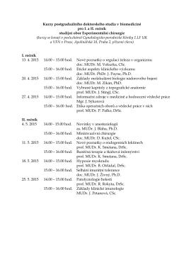 Kurzy postgraduálního doktorského studia v biomedicíně