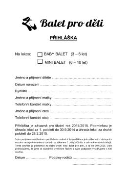PŘIHLÁŠKA - Balet pro děti
