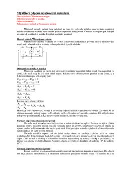 10) Měření odporů můstkovými metodami