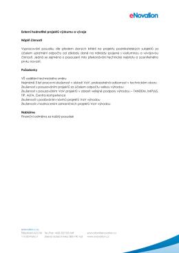Externí hodnotitel projektů výzkumu a vývoje Náplň