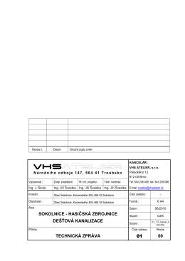 sokolnice - hasičská zbrojnice dešťová kanalizace technická zpráva