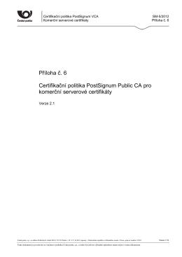 CP pro komerční serverové certifikáty v. 2.1