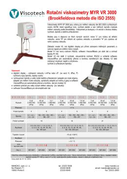 Rotační viskozimetry MYR VR 3000 (Brookfieldova