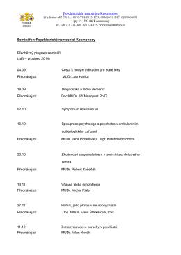 Předběžný program - Psychiatrická léčebna Kosmonosy