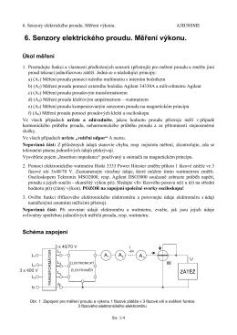 6. Senzory elektrického proudu. Měření výkonu.