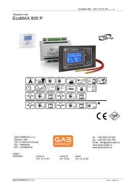 návod k obsluze regulace EcoMAX800 P
