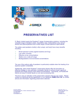 PRESERVATIVES LIST