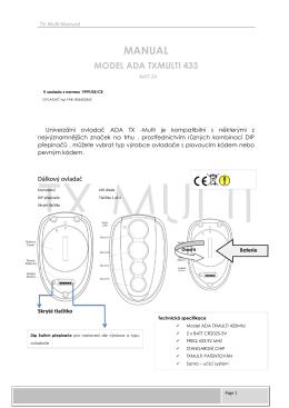 Návod k použití TX-Multi 433 - ovladani