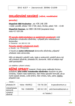 Hlášení havárií - SVJ Javorová 525