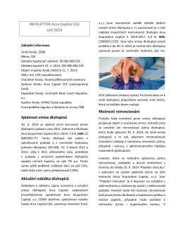 INFOLETTER Arca Capital CEE září 2014 Splatnost emise