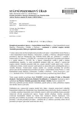Komplexní pozemkové úpravy v katastrálním území Pučery a