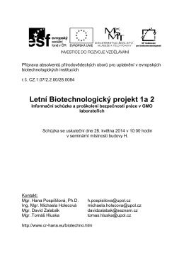 Letní Biotechnologický projekt 1a 2