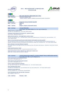 1 xxii. mezinárodní sympozium program