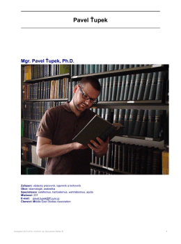 Mgr. Pavel Ťupek, Ph.D. - Ústav Blízkého východu a Afriky