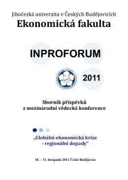 INPROFORUM - Ekonomická fakulta Jihočeské univerzity v Českých