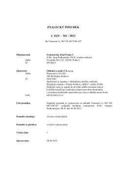 ZNALECKÝ POSUDEK č. 1631 – 361 / 2012