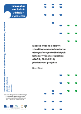 Karel Šíma: Masové vysoké školství v institucionálním kontextu
