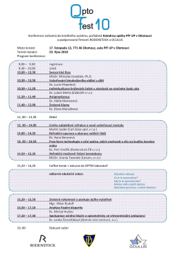 Odborný program konference