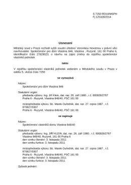 Usnesení – Změna zápisu v rejstříku