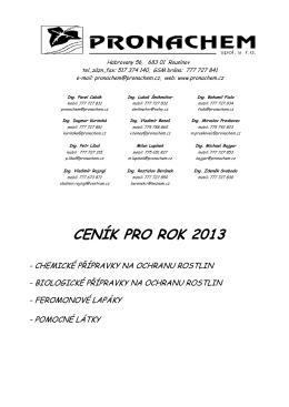 CENÍK PRO ROK 2013 - Pronachem spol. s ro