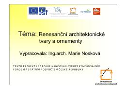 Renesanční architektonické tvary a ornamenty (NSK)