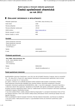Roční zpráva o činnosti: Česká společnost chemická za rok 2012