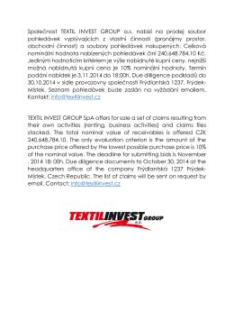 Společnost TEXTIL INVEST GROUP a.s. nabízí na prodej soubor